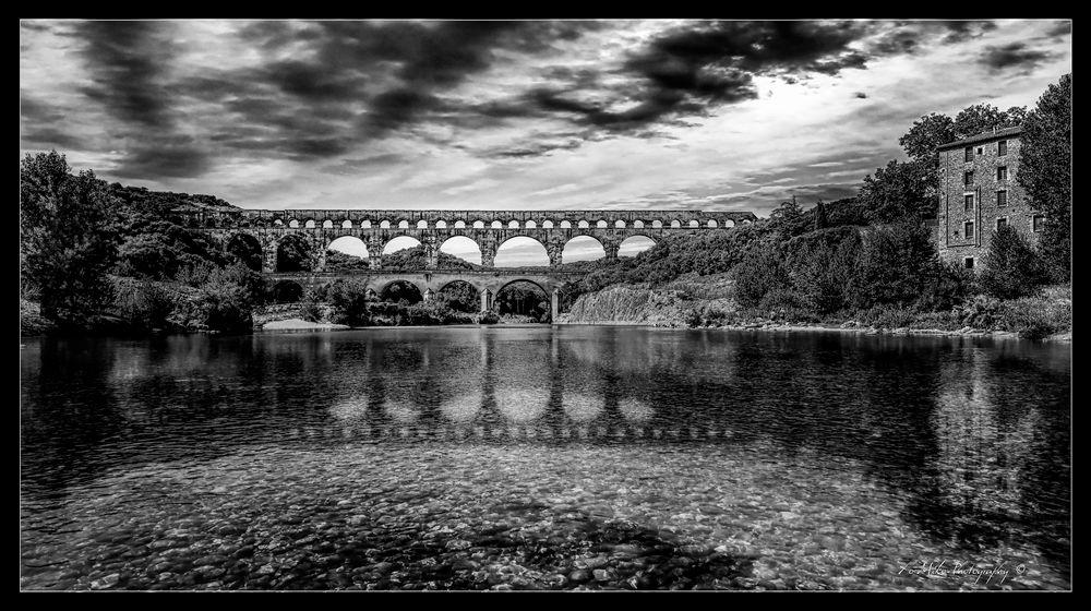Photo in Black and White #pont du gard #reflection #river #b&w #bridge #xo-miko #xo-miko photography #black and white