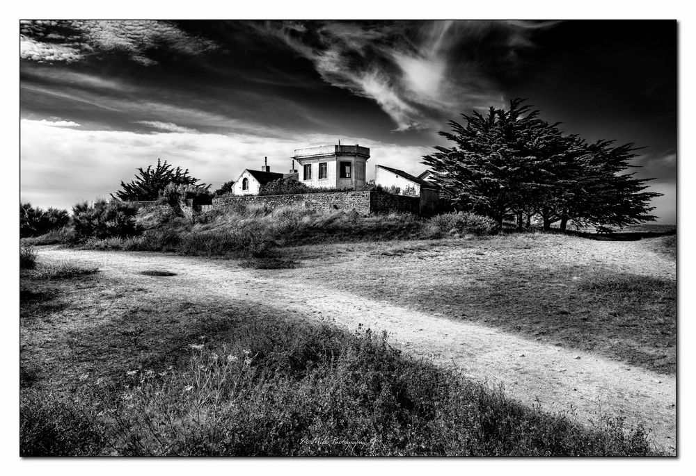 Photo in Black and White #semaphore #hoedic #island #old building #xo-miko #xo-miko photography #landscape #b&w #black and white