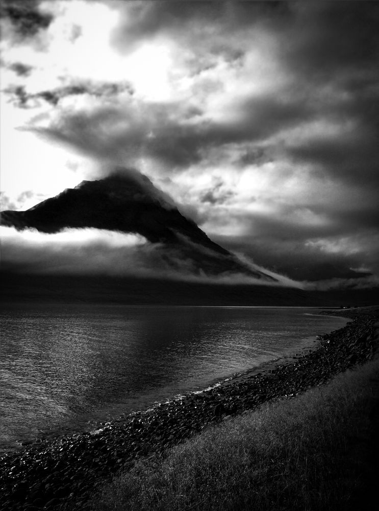 Photo in Black and White #iceland #blackandwhite #landscape #nature #mountain #clouds #dramatic #sky #bnw #dark #light #photography #art #mysterious #magical