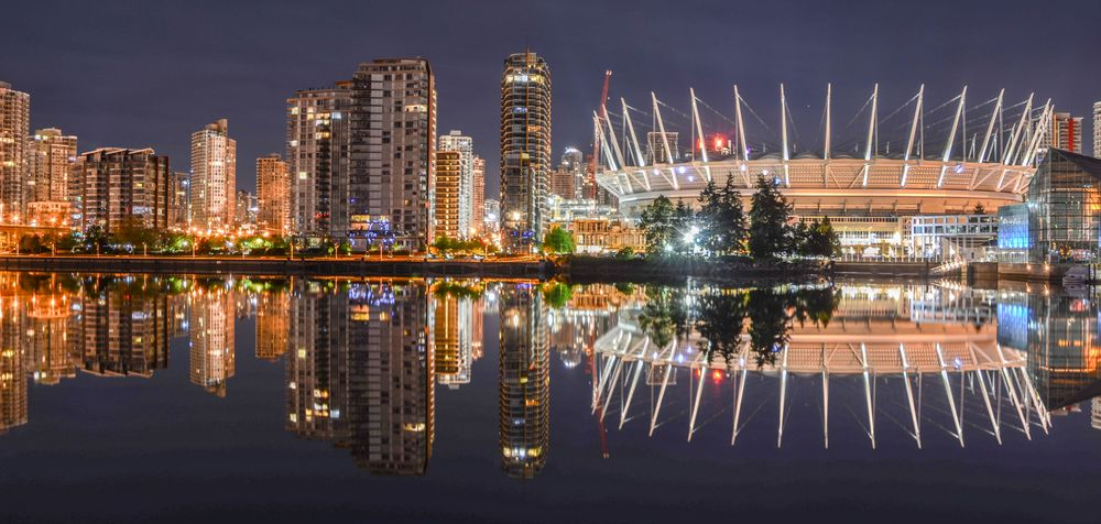 Photo in Cityscape #vancouver #reflections #night #long exposure #bc place stadium #reflection #mirror image