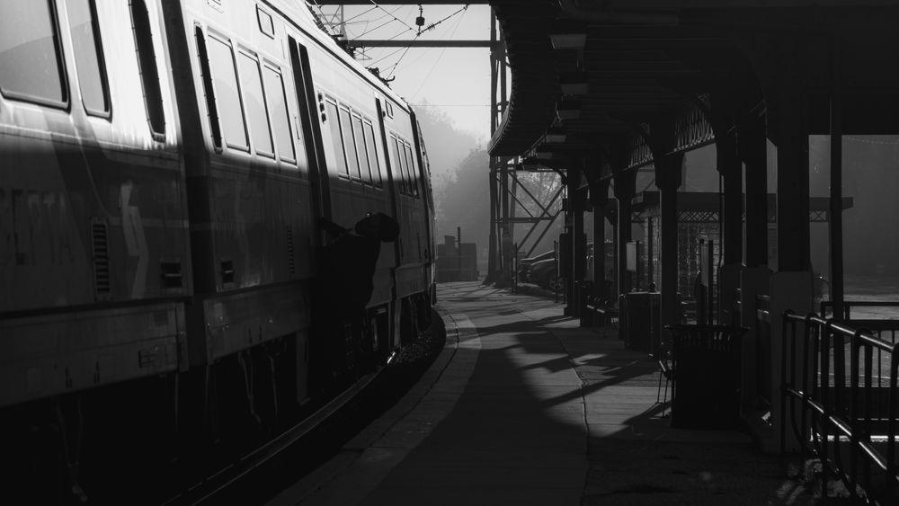 Photo in Black and White #train #railroad #station #public transportation #rail