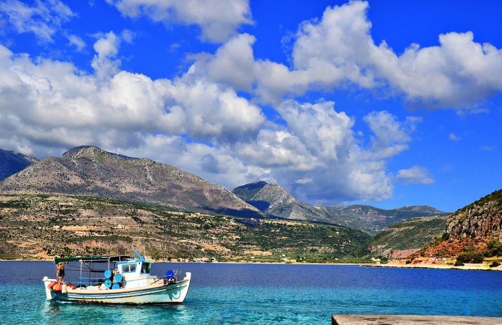 Photo in Landscape #boat #sky #clouds #autumn #nikon #nature #sea #landscape #mountains