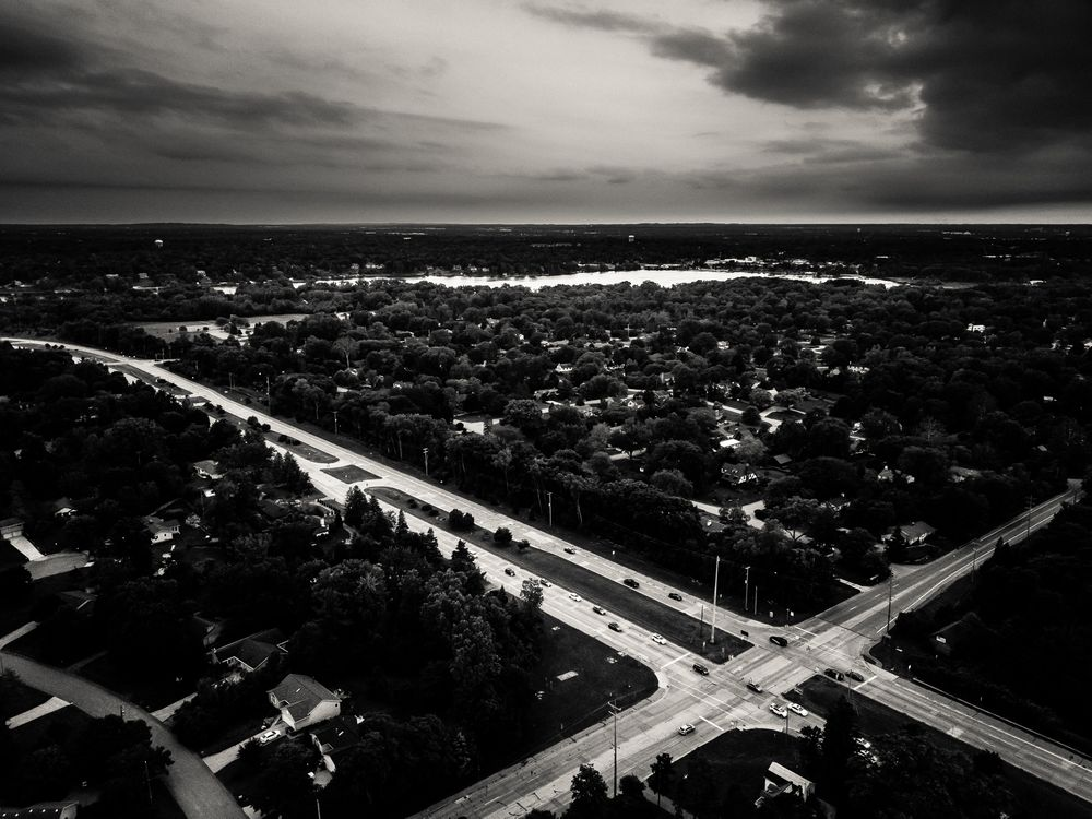 Photo in Black and White #drone #grand rapids #mavic pro #east grand rapids #michigan #sunset #clouds
