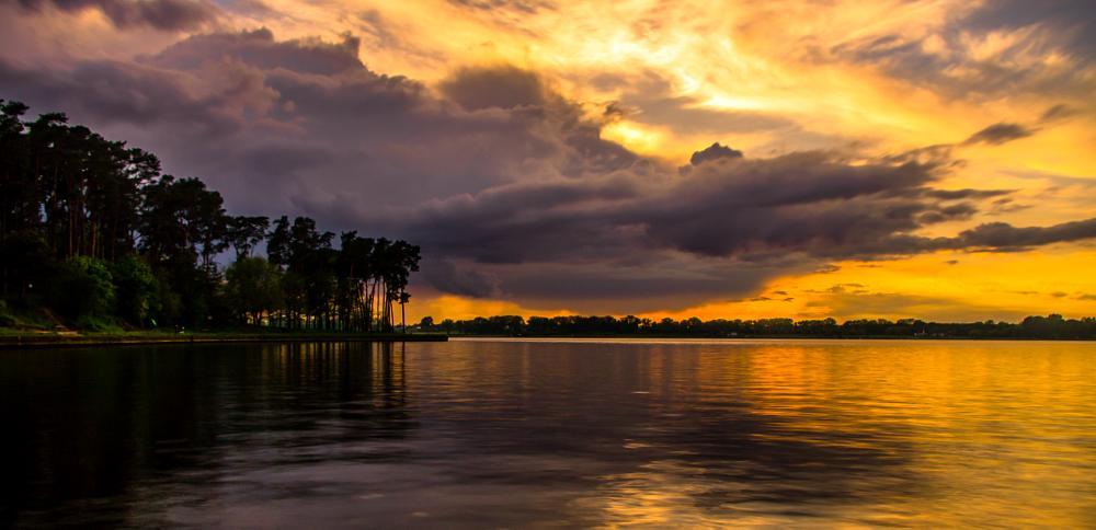 Photo in Landscape #sunset lake  #moment romantic
