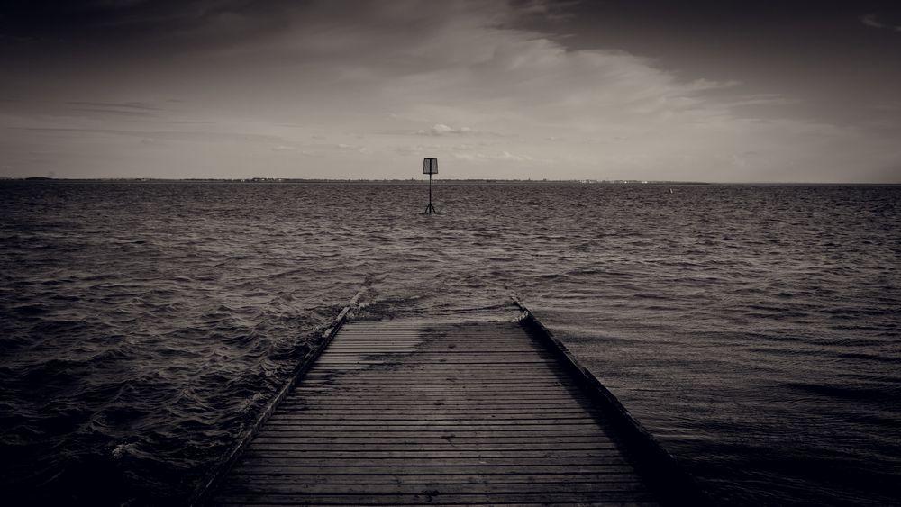 Photo in Black and White #breathe #sea #jetty #black #white #beacon