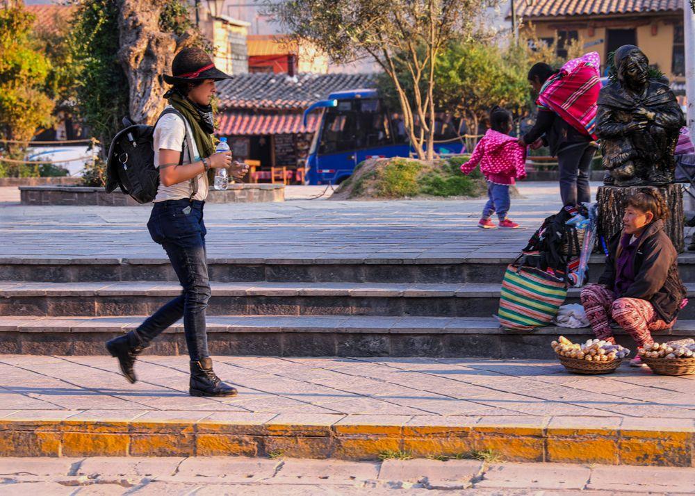 Photo in People #girl #walking #stree #market #peru