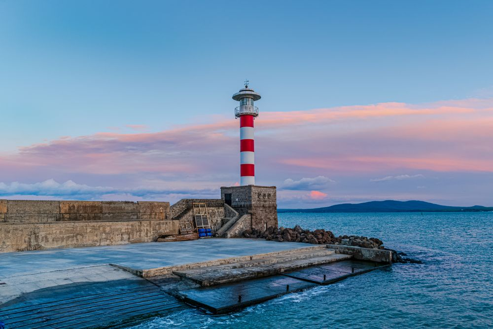 Photo in Landscape #bourgas #lighthouse #sea #water #ocean #sky #blue #coast #light #beach #beacon #landscape #sunset #lake #navigation #port #clouds #island #safety #coastline #building #nature #white #tower