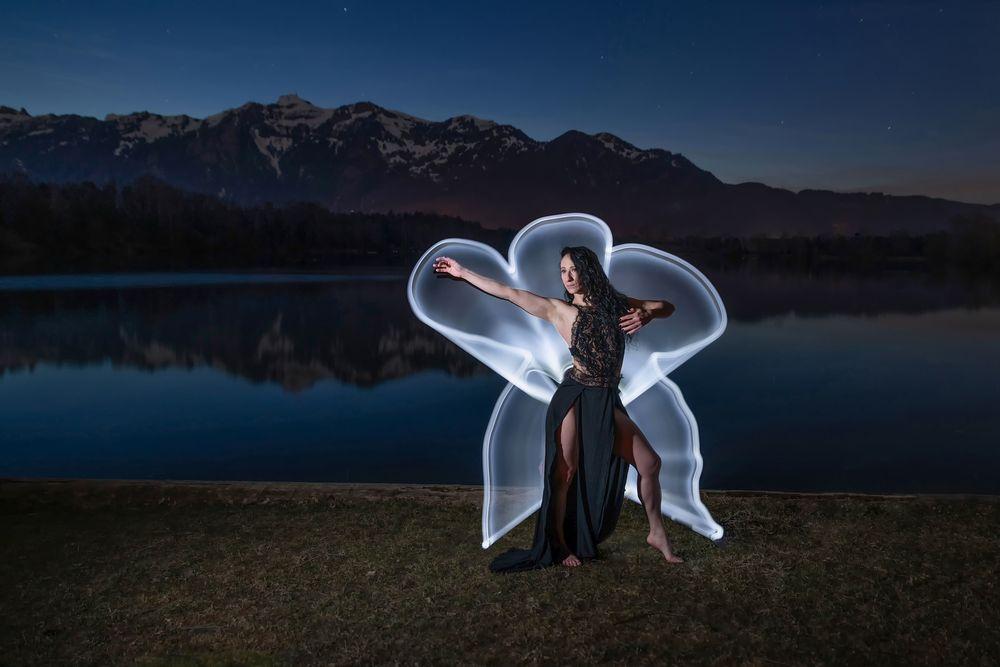 Photo in Random #lightpainting #see #baggerloch #nacht #night