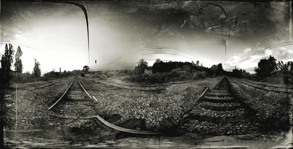 Photo in Film #reverside #iphoneography #experimental #landscape #rural #antique #ferrovias #railroads #rails #nature #film #error #fineart #art #travel #cartographers #jolaver #jorge a. olave riveros #monocrhome #monochromart #monocromo #divertimento #tren