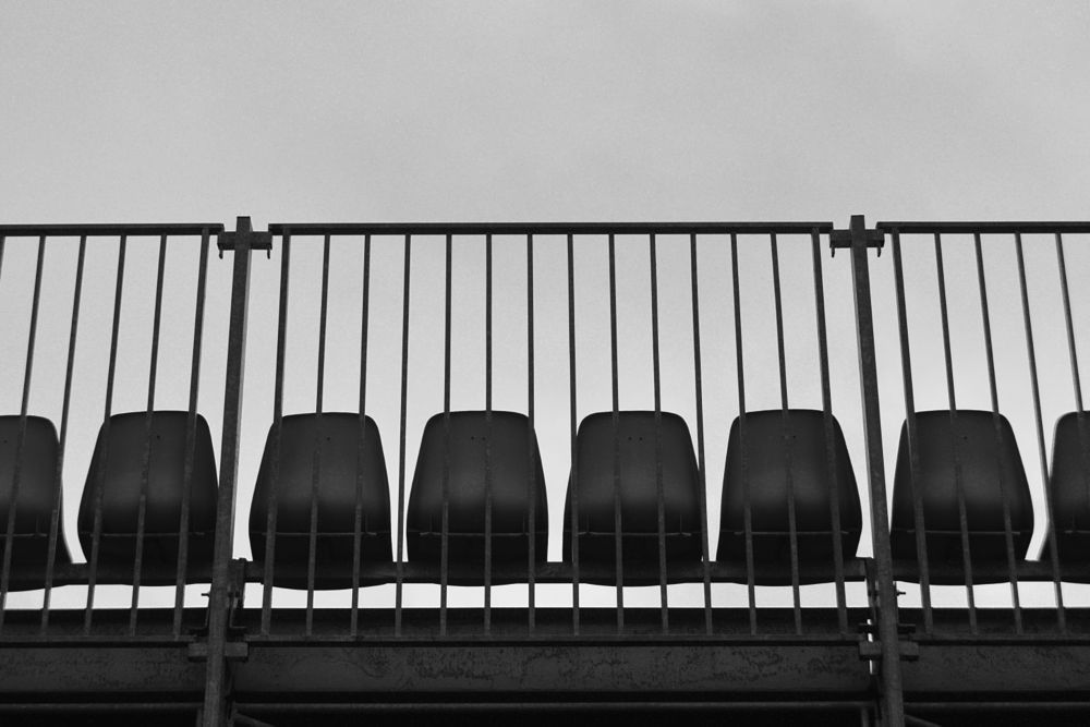 Photo in Black and White #stade #city #urban #random #architecture #art #street photography #bench #graphisme