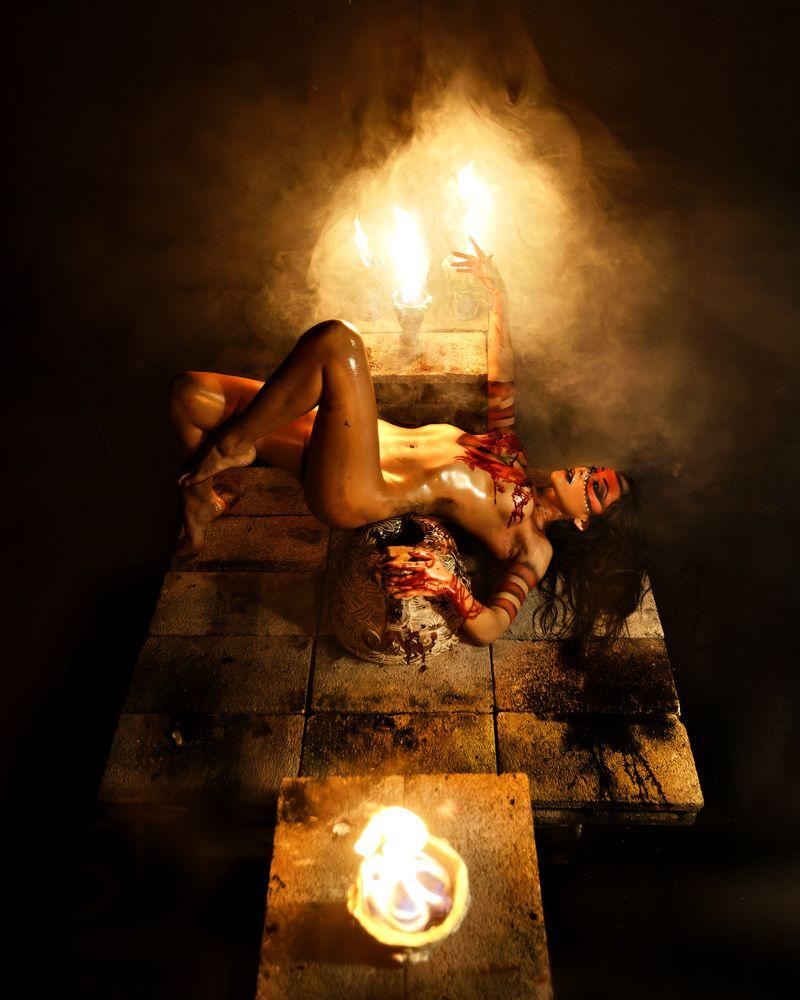 Photo in Fine Art #dark #blood #ritual #mexico #woman #female #nude #portrait #fire