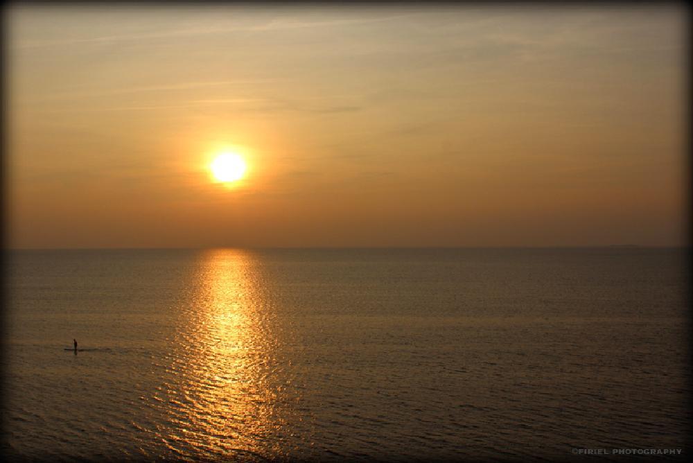 Photo in Nature #sea #paddle #alone #sunset #sun #sky #reflect #reflection #bretagne #brittany #nature