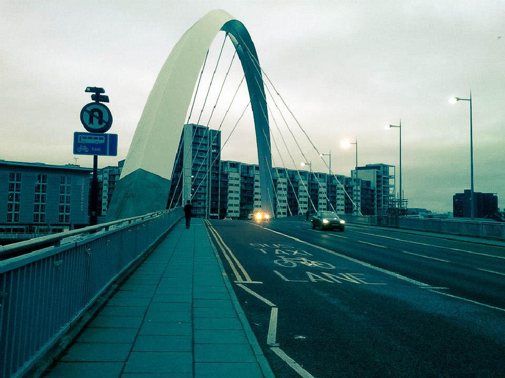 Photo in Cityscape #uk #the clyde arc #glascow #city #bridge