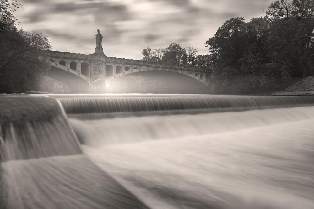 Photo in Black and White #bridge #river #long exposure #fog #water #flow #stream #black and white #munich #germany #park #visitcontest
