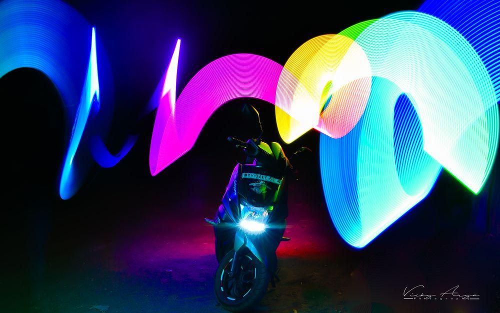 Photo in Random #night #tvs #ntorq #125 #godox #nikon #vickyaryaphotography #view