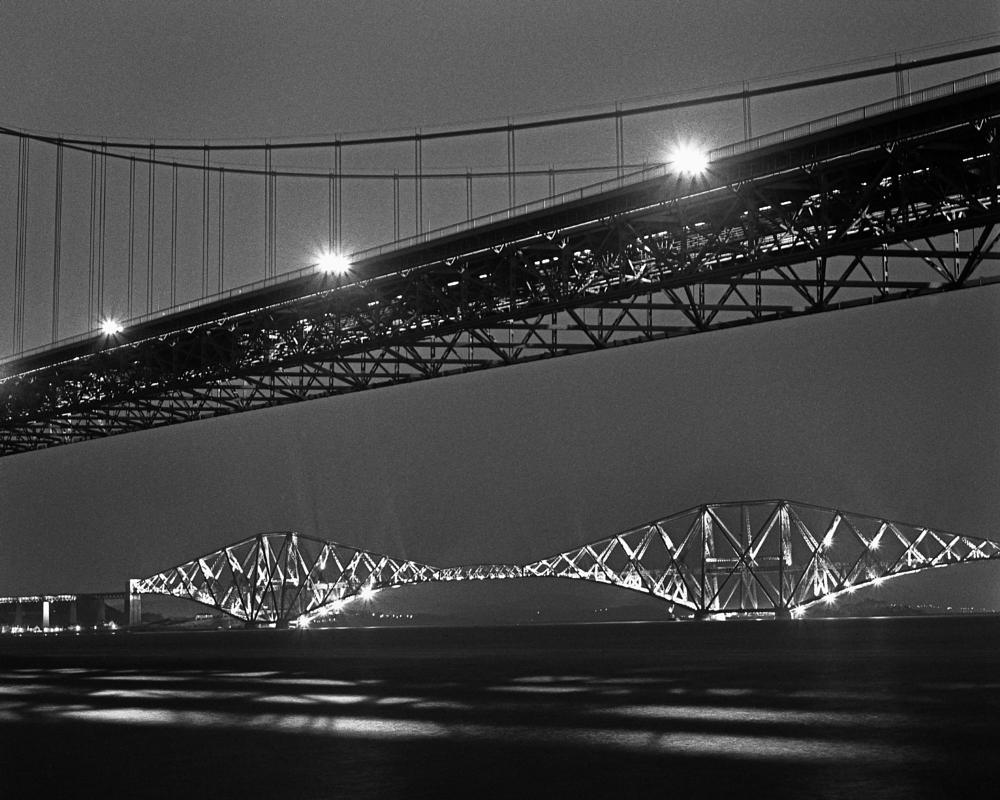 Photo in Architecture #forthbridges #bridges #scotland #monochrome #black and white #railways #b&w