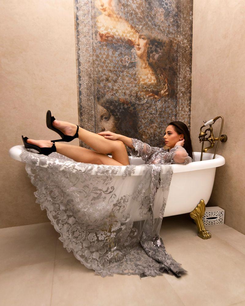 Photo in Fashion #fashion #bathtub #class #hotel #modelling #dress