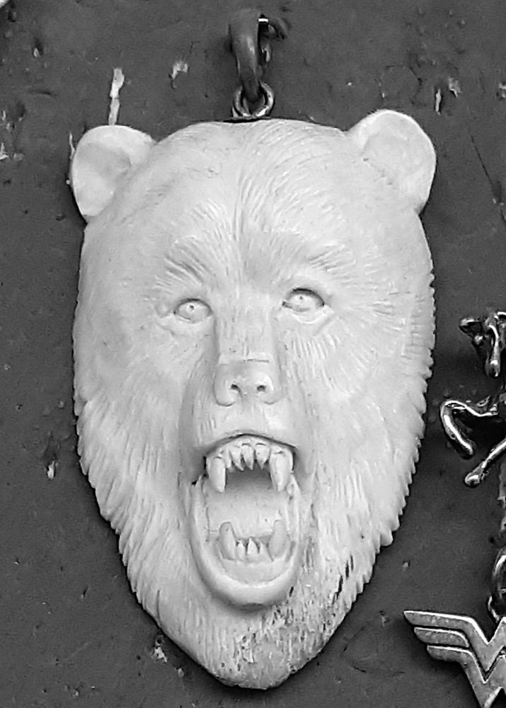 Photo in Black and White #black & white #bear #carvings #cmb #broers