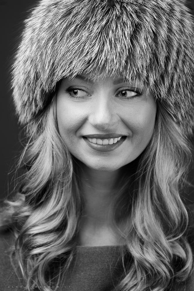 Photo in Portrait #girl #fur #hat #blackandwhite #smile