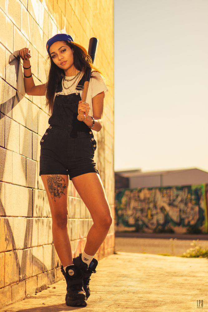 Photo in Portrait with model Rebecca Molina #gangsta #girl #latina #teen #yellow #golden hour #style #cool #lportrait #mood #dangerous #baseball