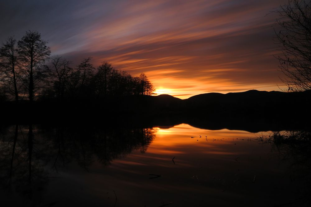 Photo in Random #sunset #sunset photography #lake #water #reflection #sun #clouds #cloudy #long time #long exposure #red clouds #nd1000