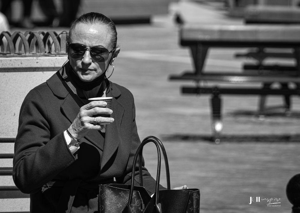 Photo in Street Photography #women #coffee #designer #bag #lv #sunglasses #sunshine #nikon #bnw #blackandwhite #blackandwhitephotography #streetphotography
