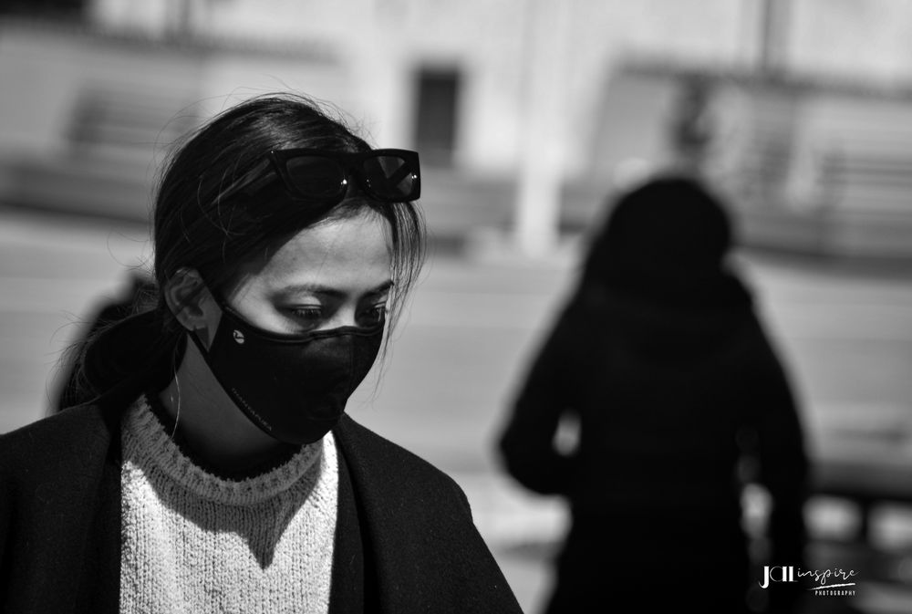 Photo in Street Photography #women #ghost #mask #street #sun #bnw #monochrome #blackandwhite #blackandwhitephoto #streetphotography