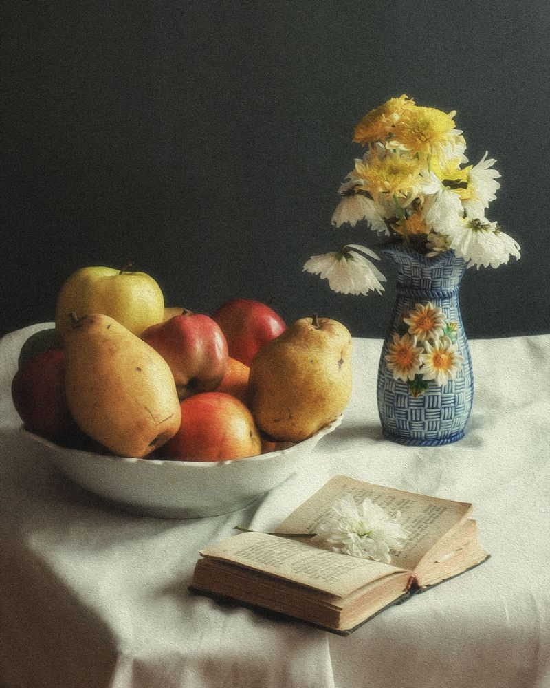 Photo in Still Life #stilllife #flowers #fruits #painting #bible