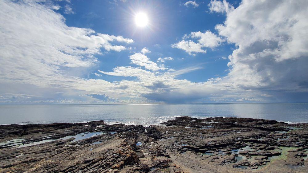 Photo in Landscape #hook head #headland #wexford #ireland #sky #clouds #sea #rocks #shore #irish landscape