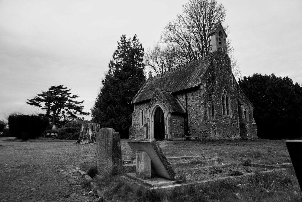 Photo in Black and White #black-and-white #blackandwhite #black and white #landscape #architecture #chapel #building #cemetery #graves #gravestones #trees