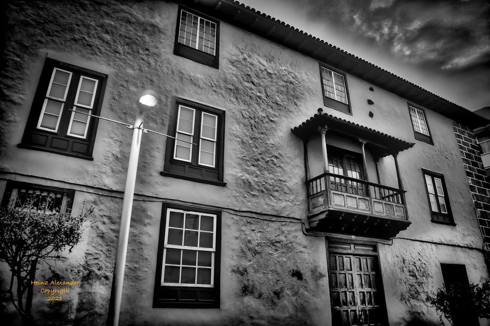 Photo in Random #old house #balcony #canary balcony #black and white