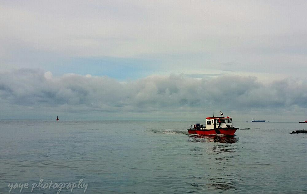 Photo in Sea and Sand #tanjung kling #malacca #sea #boat #minimalis