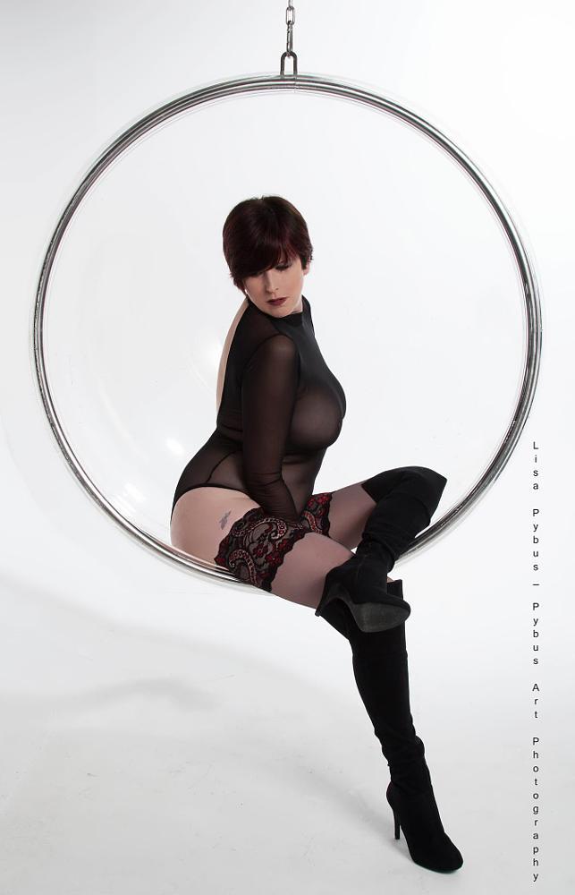 Photo in People #boudoir #mature #model #beautiful #voluptuous #boots #suspended #perspex bubble #solo studio #lisa pybus #joyce bowen #pybus art