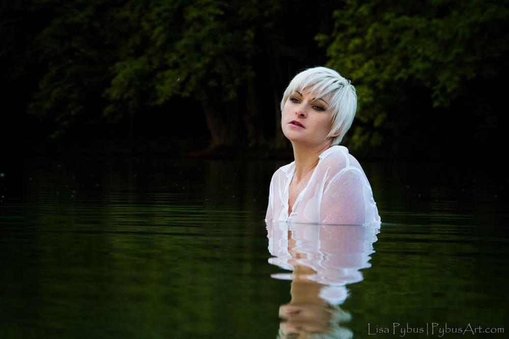 Photo in Fine Art #water #lake #lady #woman #blonde #green #natural light #afternoon #reflection