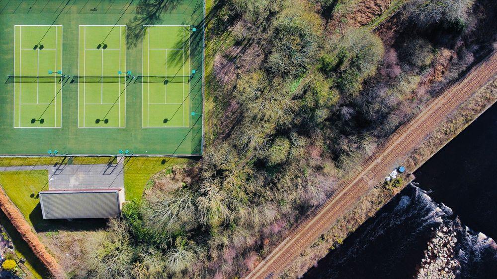 Photo in Landscape #tennis #tennis court #river