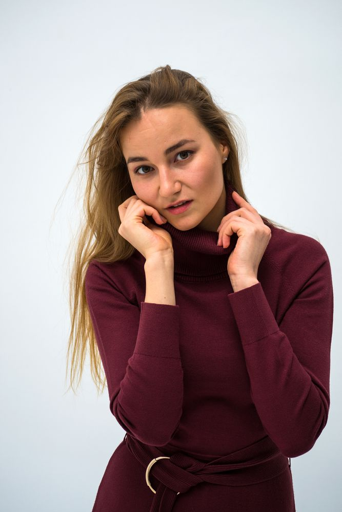 Photo in Portrait #portrait #woman #dress #burgundy #white #eyes #beauty #fashion #sensual #model #people #color #nikon