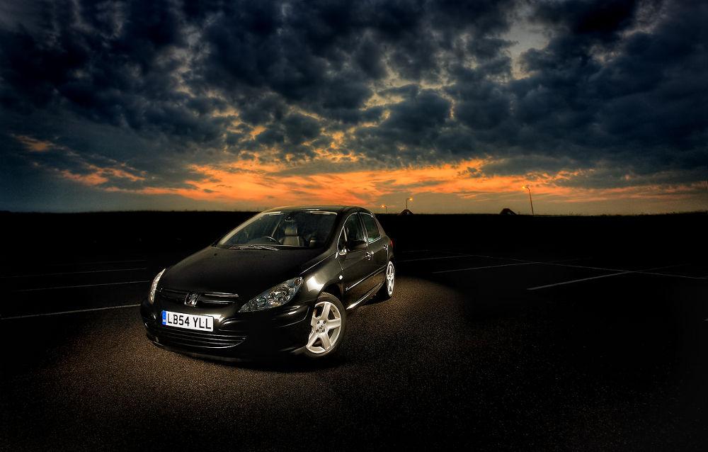 Photo in Vehicle #sunset #comercial #car #transportation #peugot #black #strobist #light #shadow #dri #hdri #hdr #lighting #lightning