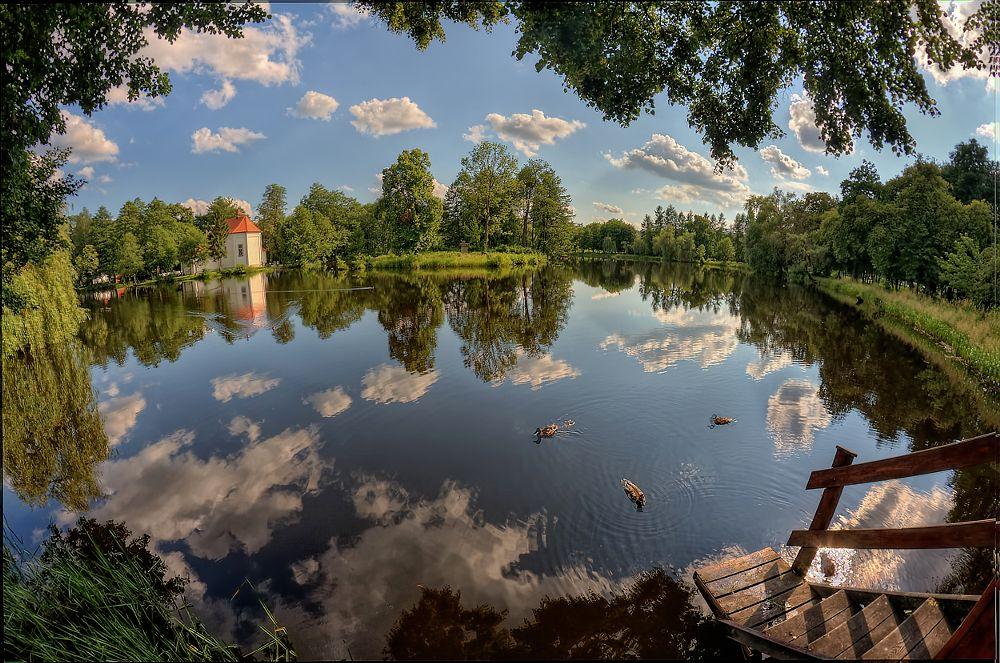 Photo in Landscape #landscape #fisheye #poland #lake #sky #clouds #reflection #distortion #summer #polska