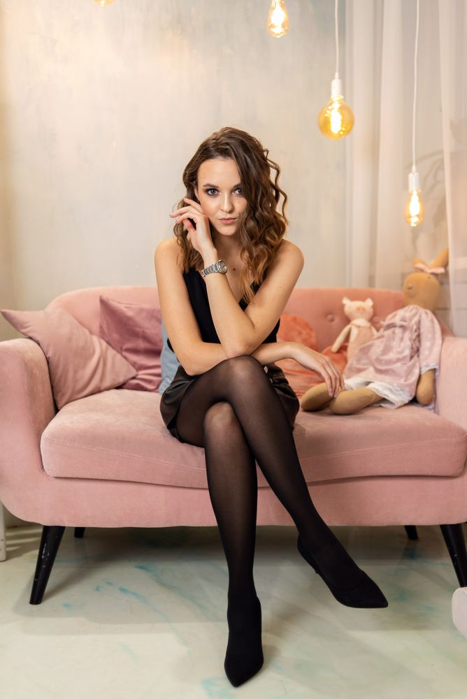 Photo in Fashion #girl #woman #young #curls #tights #sofa #couch #portrait #toys #indoors #studio
