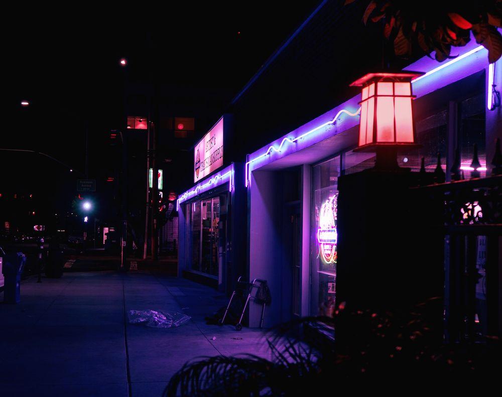 Photo in Random #lights #night photography #neon #lights homeless