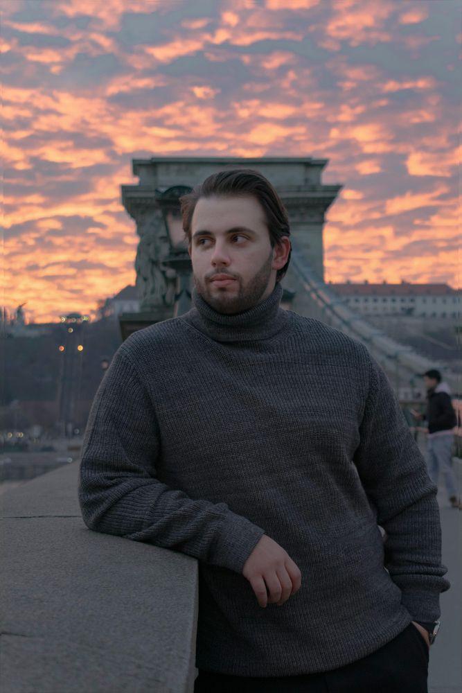 Photo in Portrait #male #portrait #sunset #budapest #mellow #pastel #clouds #bridge #autumn