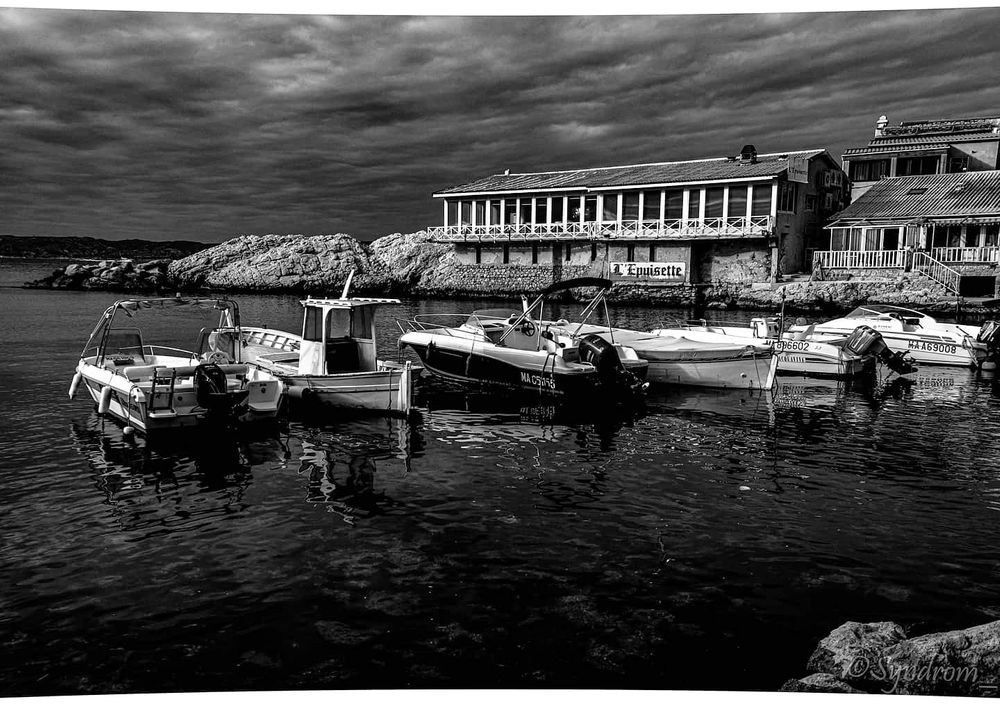 Photo in Black and White #boats #black and white #monochrome #sea #marseille