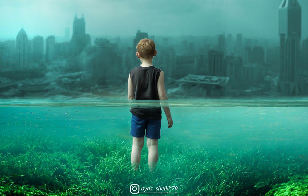 Photo in Random #manipulate #underwater #flooded #town #photoshop #art #digital art #child #edits #photoshop editing #follow #edit #manipulation #ayazsheikh #amazing #beautiful #click #capture #captured #cool