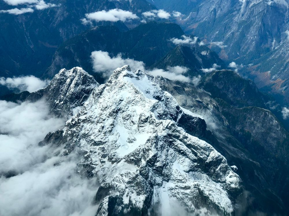 Photo in Landscape #aerial #snow #mountain #canada #aerial photography #pilot