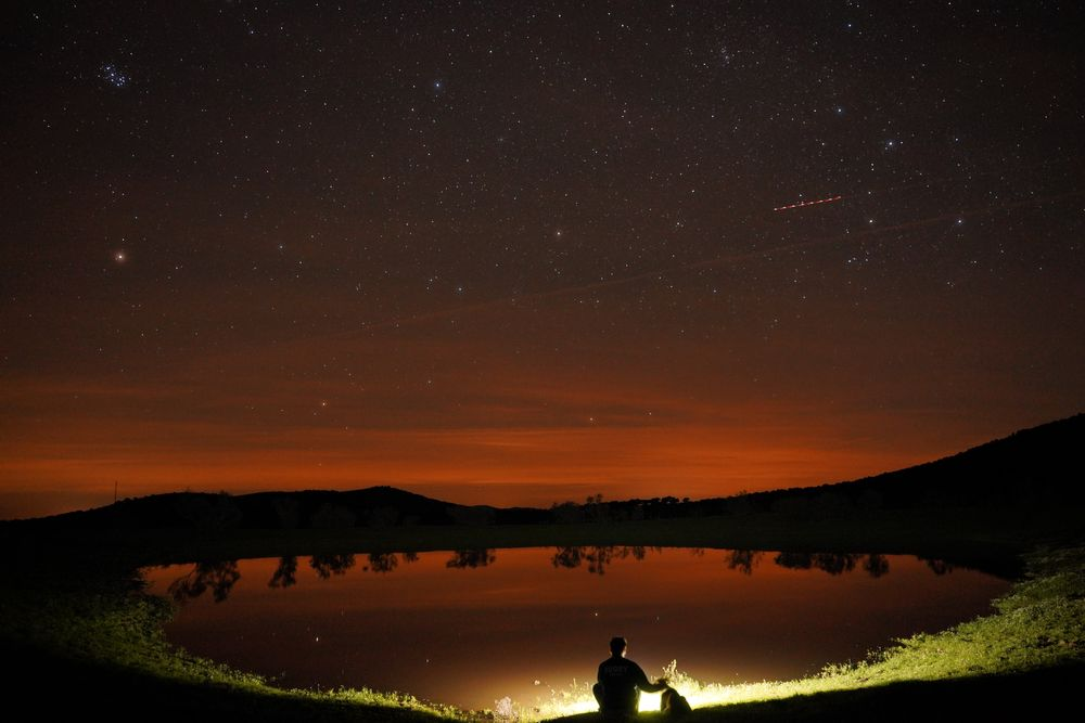 Photo in Landscape #friends #dog #night #stars #light #water #campo #countrylife #noche