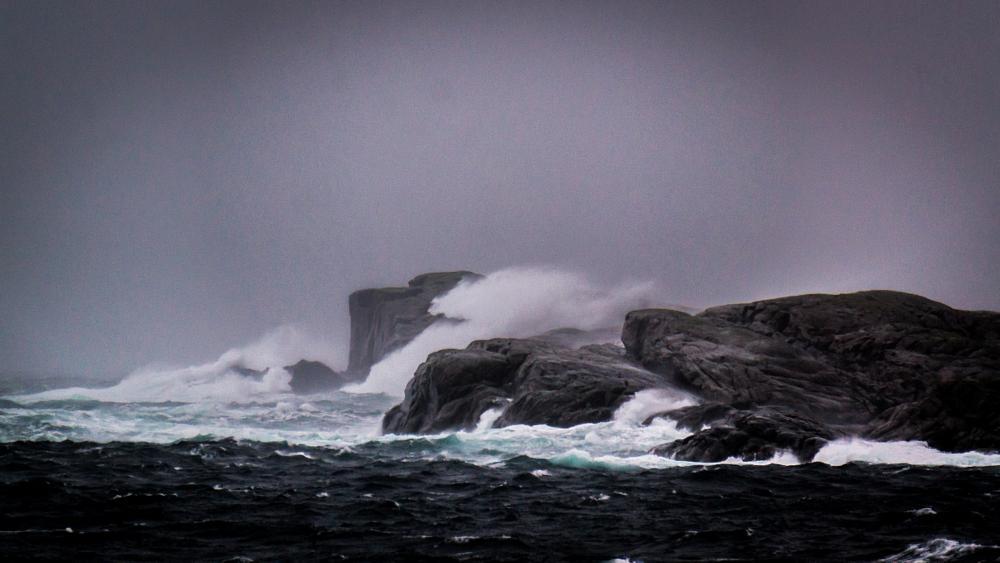 Photo in Landscape #weather #norway #norge #norwegian #sotra #bergen #sjore #north sea #water #cliff #beach #rock #stone #sky #cloudy #waves #wind #windy #splash