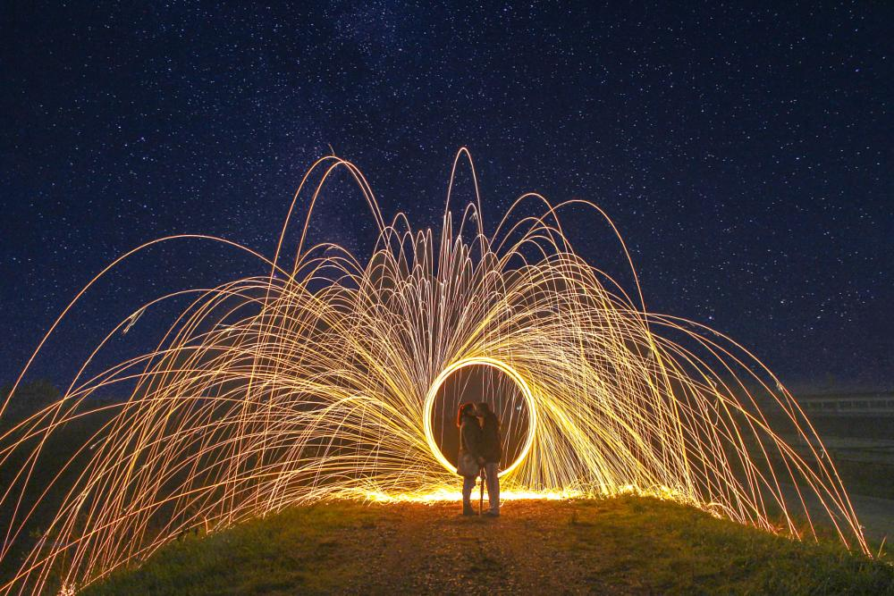 Photo in Abstract #kiss #love #fire #sparks #spark #circle #couple #self #portrait #tree #forest #place #way #photo #photography