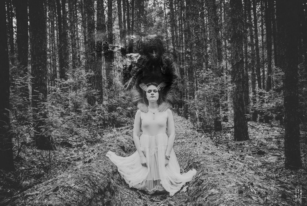 Photo in People with model Kate  #girl #surreal #forest #collage #russia #photographer #model #dark