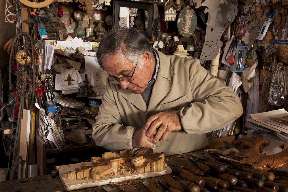 Photo in People #wood carver #artisan #craftsman #portrait #rome old shops #bottega #workshop