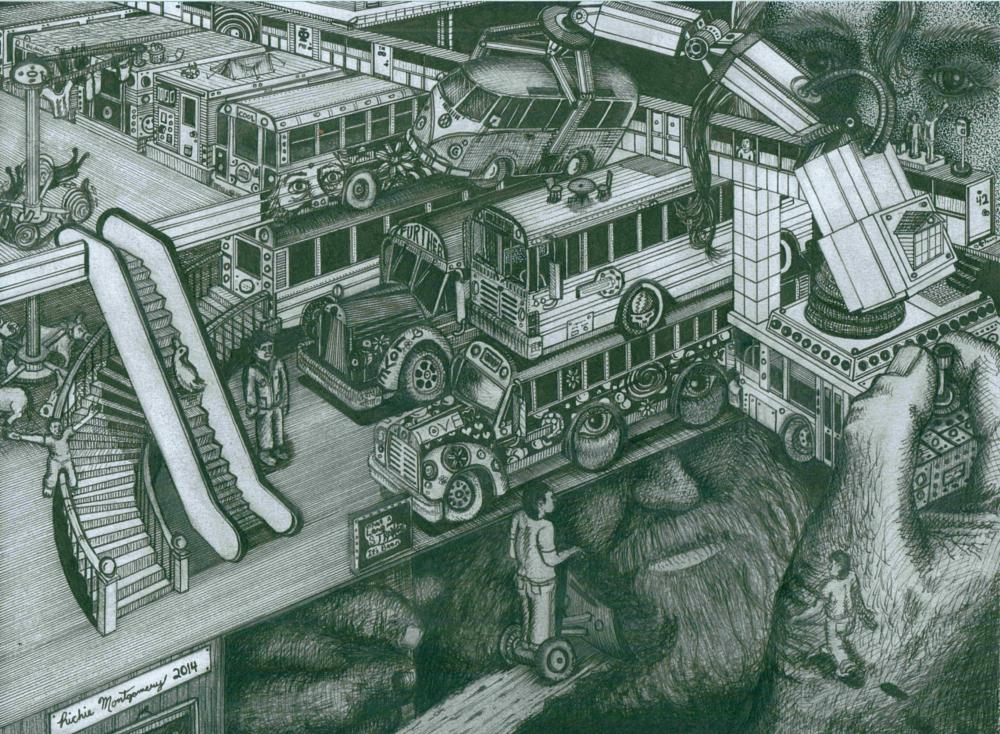 Photo in Fine Art #hippie #bus #drawing #art #surrealism